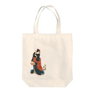 猫の浮世絵・草紙の美女の言いつけを聞く猫 Tote bags