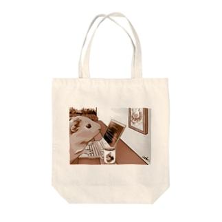 ノマドワーカーなモルモット(セピア) Tote bags