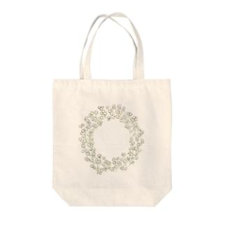 ほどけたかすみ草のリース Tote bags