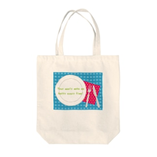 TABLE-BLUE Tote bags