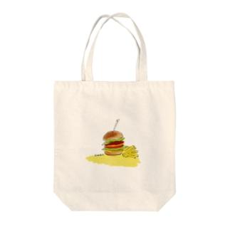 ハンバーガー Tote bags