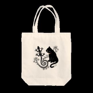 柚子の猫とトカゲ(メヘンディ) Tote bags