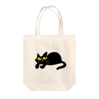 上目使いのクロネコ Tote bags