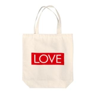 LOVE 赤ラベル Tote bags