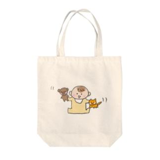 ぬいぐるみと赤ちゃん Tote bags