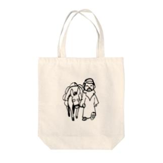 ロバと主人 donkey and arabic man トートバッグ