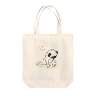 ヨガパグ Tote bags