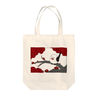 シマエナガの「ナガオくん」公式グッズ販売ページの花札「梅とナガオくん」白 トートバッグ
