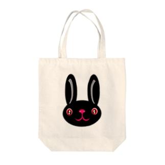 ウサギ black Tote bags