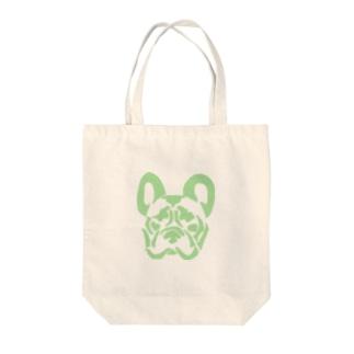 フレンチブルドッグ_GREEN Tote bags