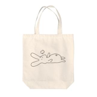 お腹いっぱいうさぎ Tote bags