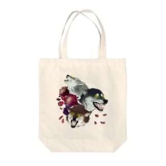 moon flower wolves Tote bags