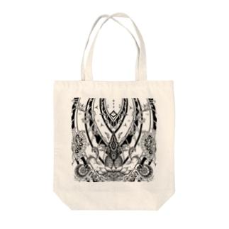 メヘンディ風トートバッグ「朝日」 Tote bags