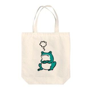 カエルは考える Tote bags