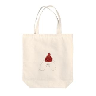 赤色帽子の北国クマさん トートバッグ