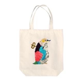 ゼンマイペンギン Tote bags