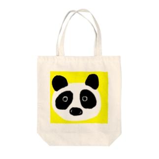パンダ@イエロー Tote bags