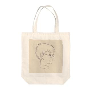 横顔メガネ Tote bags