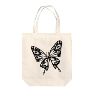 極楽蝶(黒) Tote bags