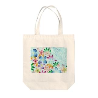 blue   flower Tote bags