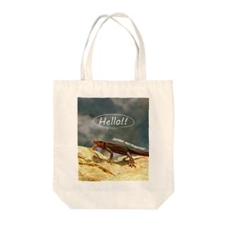 ハローアカハラ Tote bags