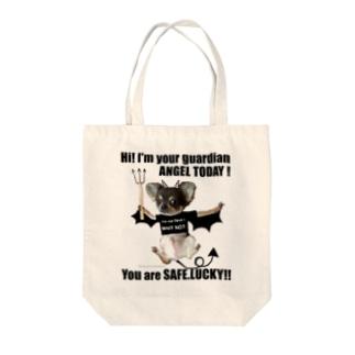 悪魔君が天使(黒字) Tote bags
