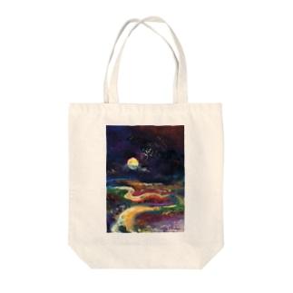 月夜の釧路湿原 Tote bags