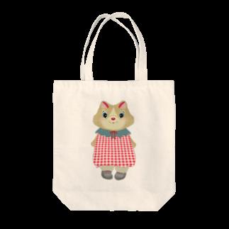 CHATONのチェックチュニックのモフちゃん Tote bags