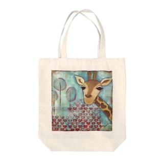 Hello ~Giraffe Tote bags