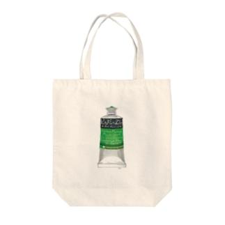 絵の具・緑 Tote bags