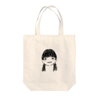 黒髪Girl Tote bags