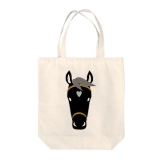 馬(黒毛) Tote bags
