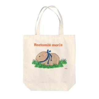 かわいいモルモット・チェコ語ロゴA(ベージュ) Tote bags