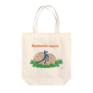 かわいいモルモット・チェコ語ロゴB(ベージュ) Tote bags
