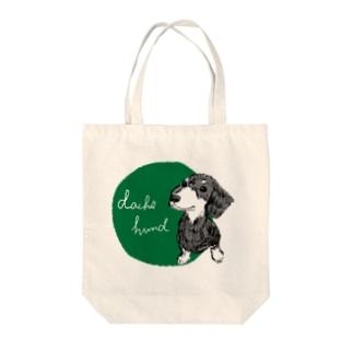 ダックスフント green Tote bags