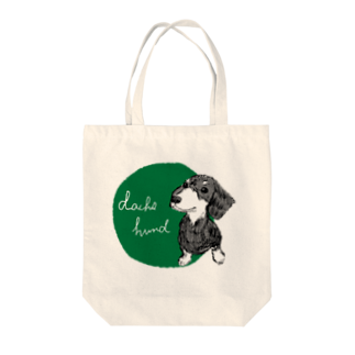 iccaのダックスフント green Tote bags