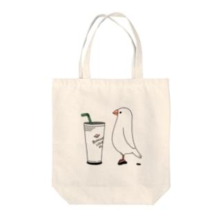 カフェ文鳥 Tote bags
