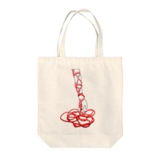 絡み伝う赤 Tote bags