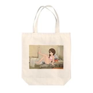 病院病棟病室萌え三つ編みピンク水着 Tote bags