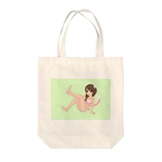 萌え三つ編みピンク水着猫耳&猫コスプレ黄緑横縞模様 Tote bags