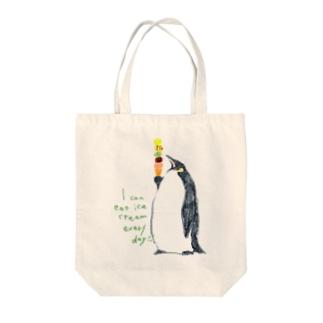 ペンギンとアイス Tote bags