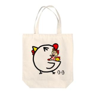 ニワトリと赤ずきん Tote bags