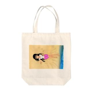 黒髪女子浜辺背景 (横長) Tote bags