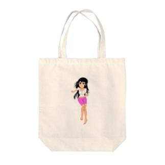 カラー黒髪女子 Tote bags