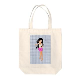 カラー黒髪女子青色格子背景 Tote bags