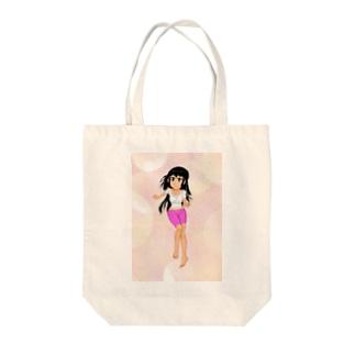 カラー黒髪女子ほわほわ背景 Tote bags