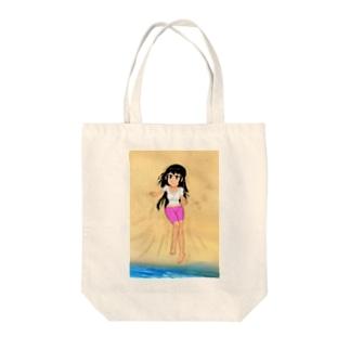 カラー黒髪女子浜辺 Tote bags