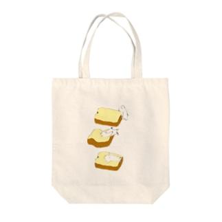徹夜明けのパンは厚切り Tote bags