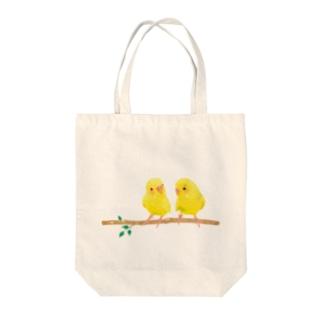 幸せの黄色いセキセイインコ Tote bags