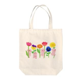 ブタとお花 トートバッグ